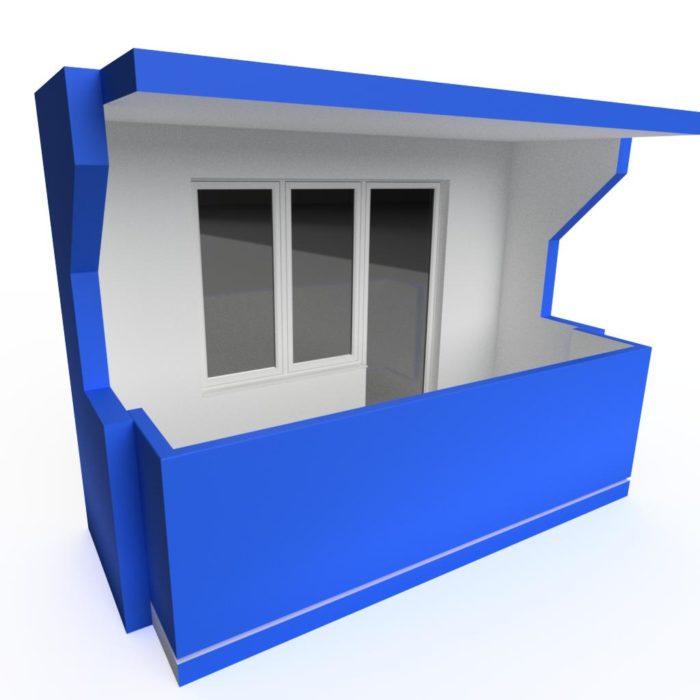 Pravoúhlá varianta s betonovým zábradlím