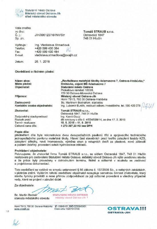 Revitalizace mateřské školky Adamusova 7 Ostrava