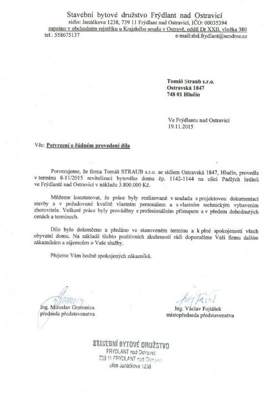 SBD Frýdlant nad Ostravicí, Revitalizace BD na ul. Padlých Hrdinů 1142-1144