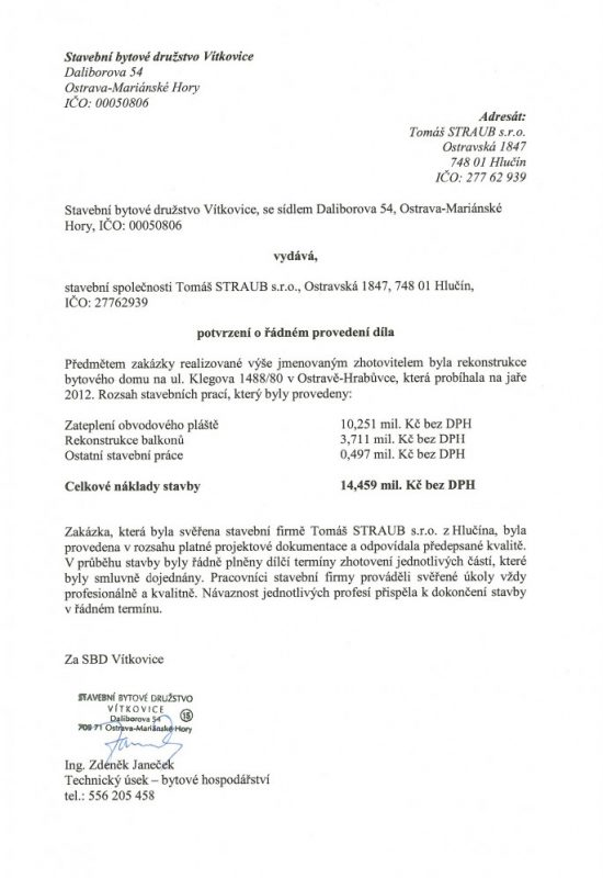 SBD Vítkovice BD Klegova 1488 Ostrava